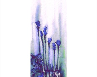 Greeting Card, greeting cards, greeting card pack, blank cards, stationery card, notecard, blank inside, A6, Blue Irises, ink drawing