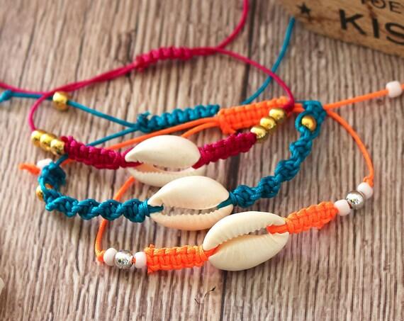Holiday Bracelets, Macrame Cowrie Shell Jewellery