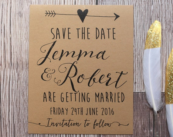 Wedding Save the Date Card, Pack of ten cards, Rustic Kraft Wedding Announcement Card, Printed Wedding Invitations