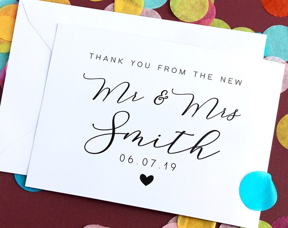New Mr and Mrs Thank You Card Pack, Personalised Wedding Card,Thank you Wedding Card,  Wedding Guest Card, Wedding Date Card