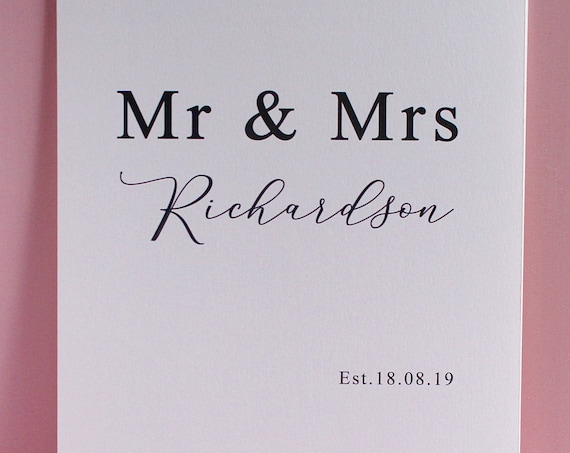 Mr and Mrs Wedding Day Print, Anniversary Gift, Personalised Custom Date Gift
