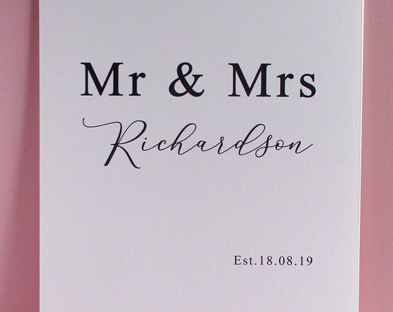 Mr and Mrs Wedding Day Print, Anniversary Gift, Personalised Custom Wedding Date Gift