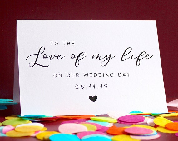 To My Groom On Our Wedding Day, Bride Wedding Day Card, Calligraphy Wedding Card, Love of my life card, To My Groom On My Wedding Day