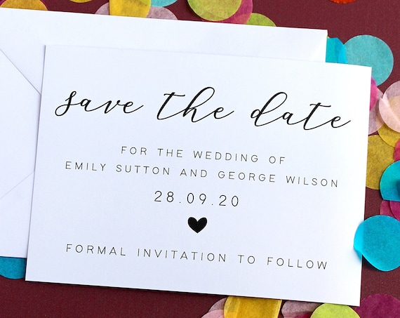 Save The Date Card, Wedding Announcement Card, Simple Wedding Invite, Modern Calligraphy Save The Date, Save The Date, Pack of ten cards