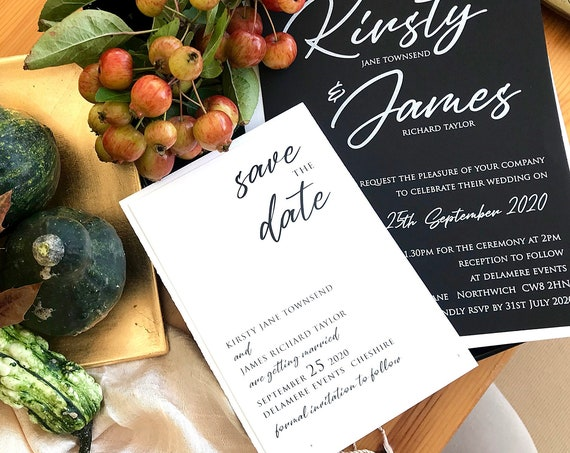 Modern Black and white Save the date, wedding invitations, Personalised save our date cards