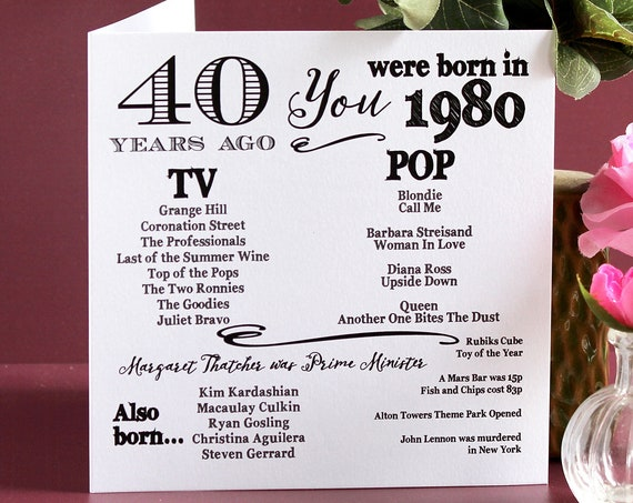 1980 birthday, 40 years ago card, Year you were born. 40th Birthday card, fun facts about 1980,  personalised typography card
