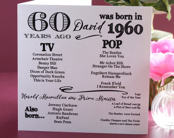 1960 birthday, 60 years ago card, Year you were born. 60th Birthday card, fun facts about 1960,  personalised typography card