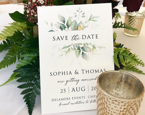 Wedding Save the Date card, Pack of ten cards, Elegant wedding announcement, printed wedding invitations