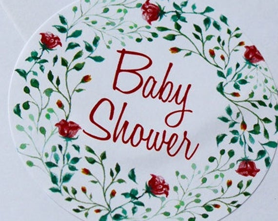 Baby Shower Stickers, baby favour stickers, Floral stickers and gifts. Round labels