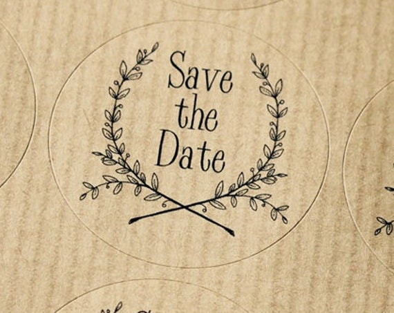 Wedding stickers for Save the Dates, Kraft labels for Invitations and Stationery