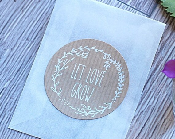 Let love grow stickers, wedding labels, favors and favours.  Round personalised kraft stickers.