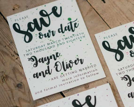 Save the date Cards, Modern Calligraphy Invitations, A6 Wedding Announcement Cards