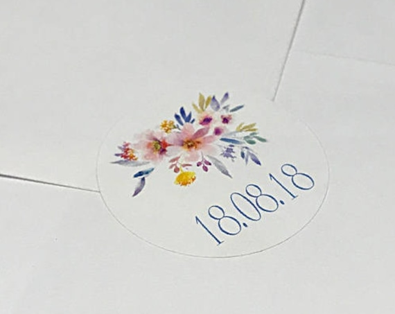Wedding stickers, floral personalised marriage date labels