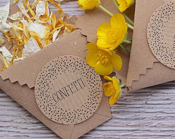 Confetti stickers, wedding confetti labels, wedding favour stickers, confetti