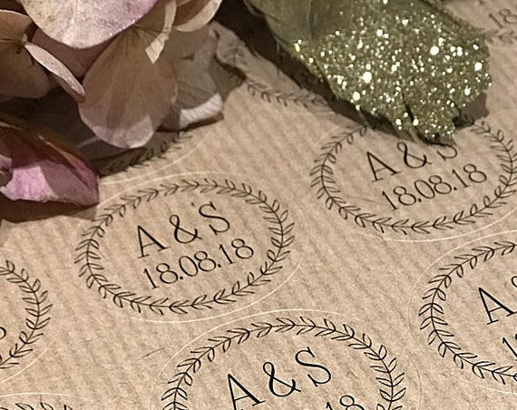 Mr and Mrs Stickers, Wedding Stickers, Custom kraft sticker, Kraft Wedding Labels, Confetti Labels, Favour Stickers and Invitations