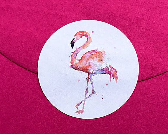 Flamingo labels and stickers for parties, invitations and favours