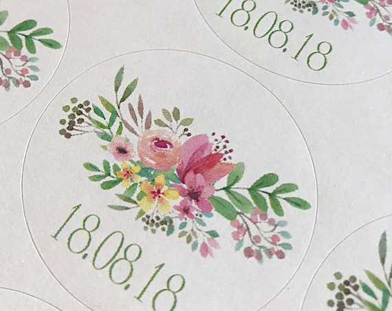 Wedding stickers, floral personalised marriage date labels, save the date stickers