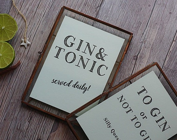 Famed Gin and Tonic Print - Served Daily - Perfect gift for a Gin lover!