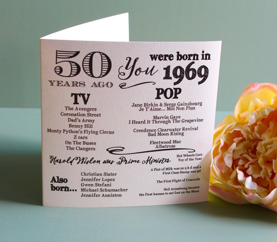 1969 birthday, 50 years ago card, Year you were born. 50th Birthday card, fun facts about 1969,  personalised typography card