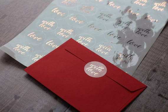 Valentine's Day, Foiled Clear Gloss Stickers, wedding invitations, bridesmaid gift, home sweet home