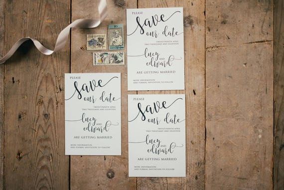 A6 Neutral Calligraphy Save the Date Cards and Envelopes