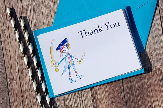 Pirate Party Thank You Cards, Birthday Invitations for Boys, Pirate Theme Party, Blue Cards, Childrens Invitations and thank you cards