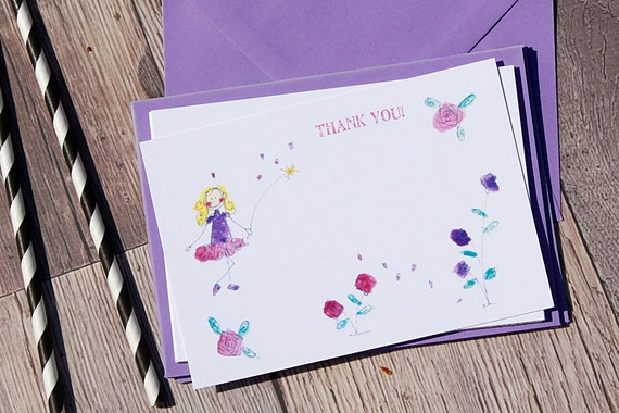 Fairy party thank you cards, thank you cards, purple, childrens invitations, fairy princess cards, party, birthday party