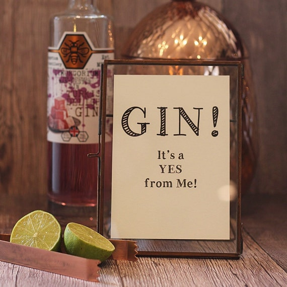 Framed Tyography Gin Quote for the Gin lover in your life! Brass and Glass nkuku frame