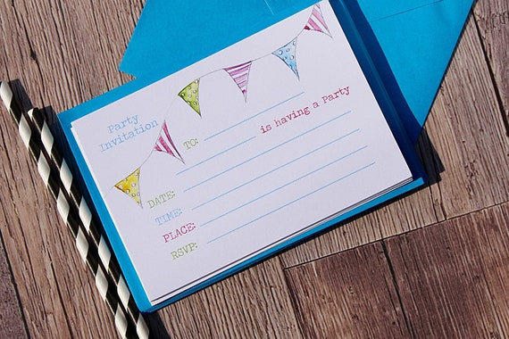 Party Invitations, Bunting Invitations, Printed Party Invitations, Pack of 10 cards and envelopes