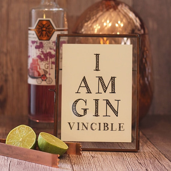 Framed Gin Lovers print, Gin gift for that special someone