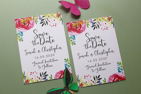 A6 Wedding Save the Date Cards, Modern Floral Wedding Stationery, Wedding Announcement Cards