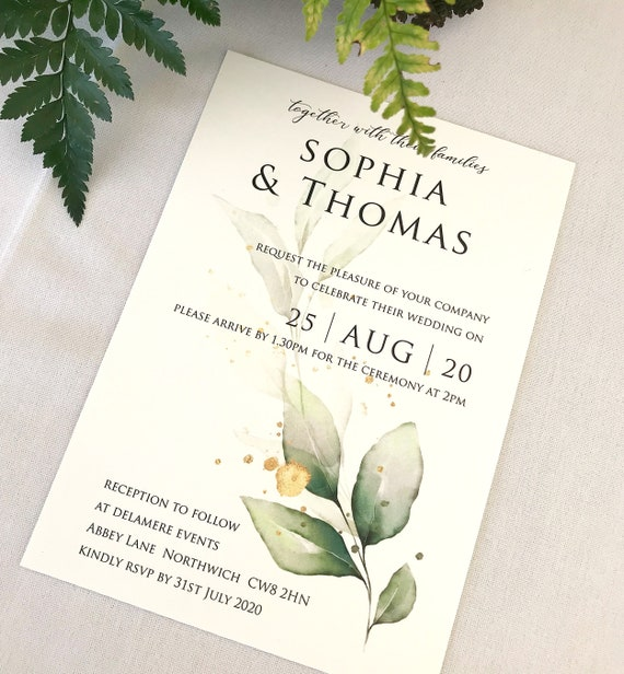 Wedding Invitations, Pack of ten cards, Elegant wedding Stationery, printed wedding invitations