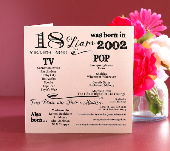 2002 birthday, 18 years ago card, Year you were born. 18th Birthday card, fun facts about 2002,  personalised typography card