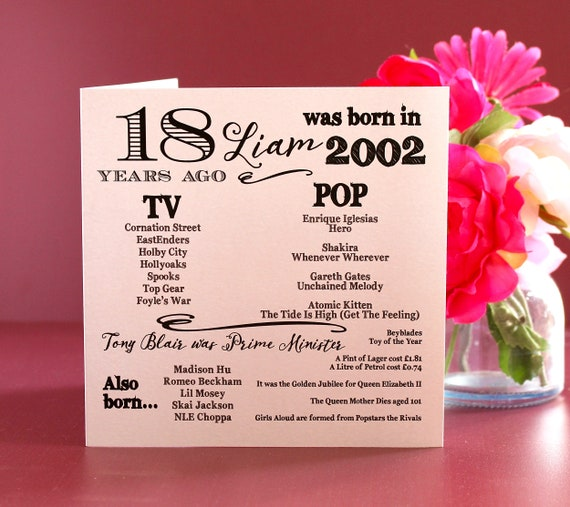 2003 birthday, 18 years ago card, Year you were born. 18th Birthday card, fun facts about 2003,  personalised typography card