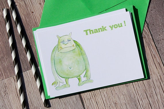 Boys thank you cards, Monster thank you cards, Birthday Invitations for boys, A6 packs of cards