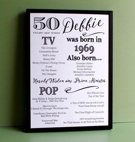 1969 birthday, 50 years ago print, Year you were born. 50th Birthday Gift, fun facts about 1969, A4 personalised typography print