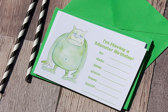Party invitations for boys, Monster Invitations, Boys Party Invitations, Birthday Party Invitations, Monster Party