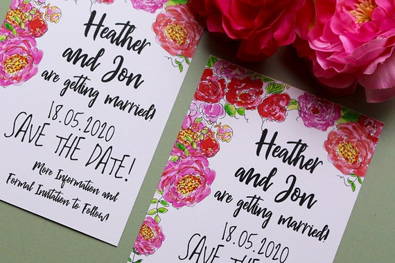 Floral Save the Date Cards, Wedding Announcement Invitations and Stationery