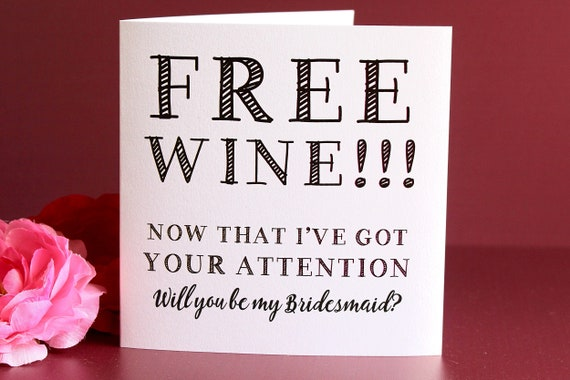 Will you be my Bridesmaid Card, Wedding card, Funny Bridesmaid Proposal