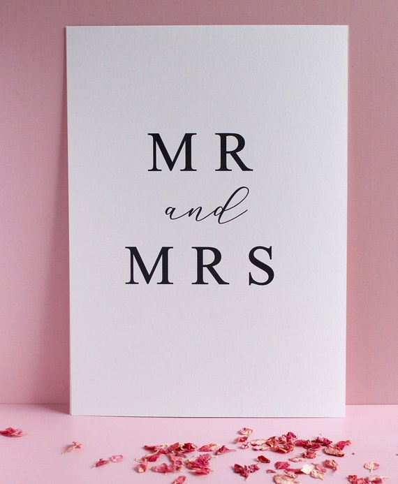 Mr and Mrs Wedding Day Print. Anniversary gift, Wedding day Gift