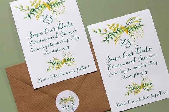 Save The Date Cards, Botanical Flowers, Wedding Date Announcement A6
