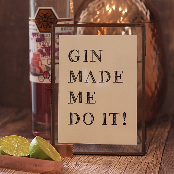 Gin and Tonic print, Gin Bar sign, Gin lovers gift, Framed Typography print for Christmas, Gin and Tonic signs, Gin Sayings, Quotes
