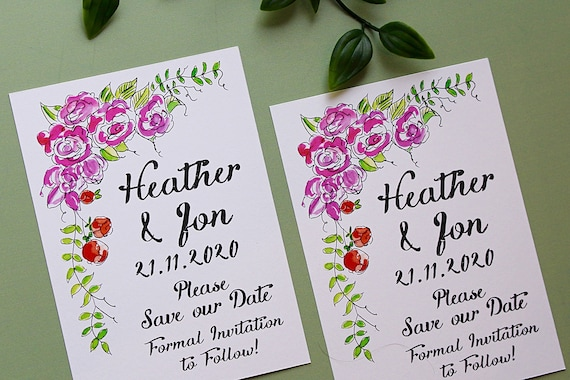 Save the Dates, Save Our Dates, Bright floral Watercolour, Wedding Date Cards, Invitations and Wedding Stationery
