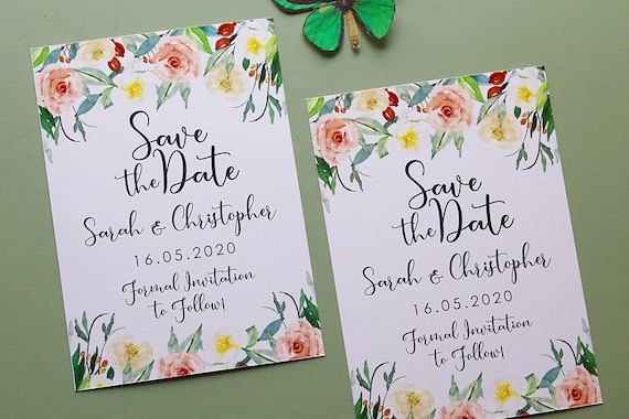 Wedding Save the Date Cards, A6 Spring Summer Invitations, 2020 Florals
