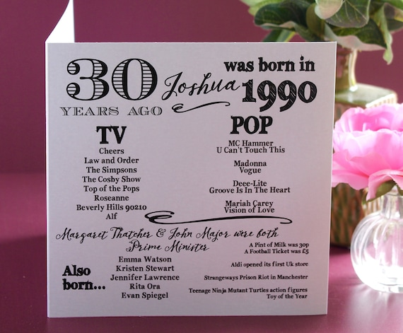 1990 birthday, 30 years ago card, Year you were born. 30th Birthday card, fun facts about 1990,  personalised typography card
