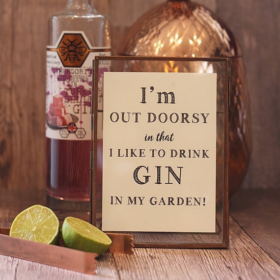 Framed Prints for Gin Lovers, Funny Quotation, Gin saying. Brass framed print