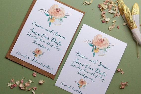 Save The Dates Card, Floral Save The Date, Save The Dates Floral, Flowers Save The Date, Wedding Save The Date Cards, Wedding Date Card