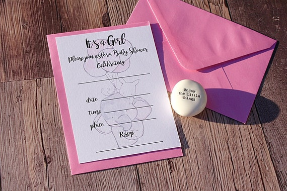 New baby shower party Invitations, Baby Girl, Printed A6 Invitations