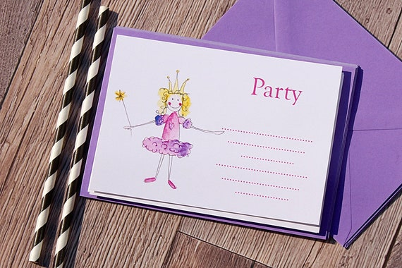 Fairy Princess Party Invitions, Girls Birthday Invitations, Princess Party, Purple Invitations, pretty party invitations and thank you cards