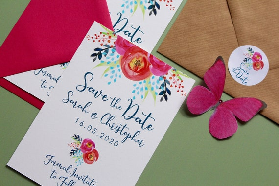 Save the dates, Wedding date cards, handpainted bright florals, pink flowers
